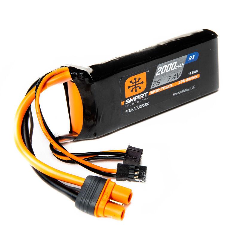 7.4V 2000mAh 2S 15C Smart LiPo Receiver Battery: Universal Receiver, IC3